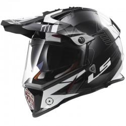 Krosová helma LS2 Pioneer Trigger, MX436, černo-bílo-titanová