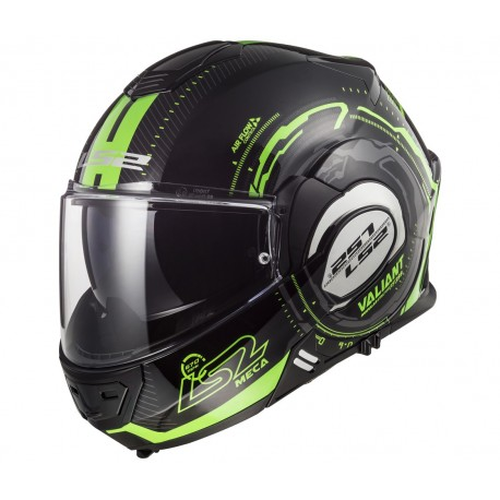 Překlápěcí helma LS2 Valiant, FF399, zeleno-černá
