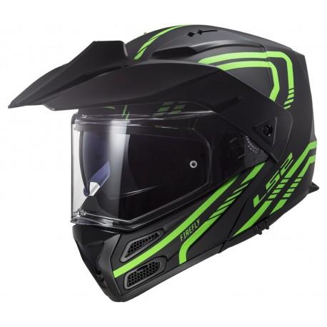 Výklopná helma LS2 Metro Evo Firefly, FF324, zeleno-černá