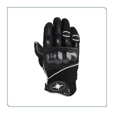 Krátké sportovní textilní rukavice Polaris černé, s karbonovým chráničem